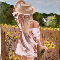 картина слънчогледово момиче